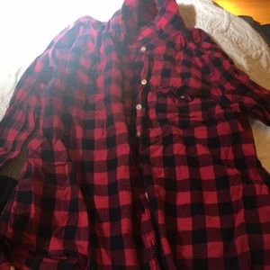 Pink and black plaid flannel